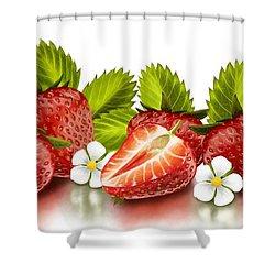 Strawberries Shower Curtain by Veronica Minozzi
