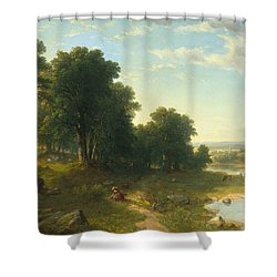 Strawberrying Shower Curtain by Asher Brown Durand