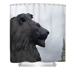Strong Lion Shower Curtain by Mary Mikawoz