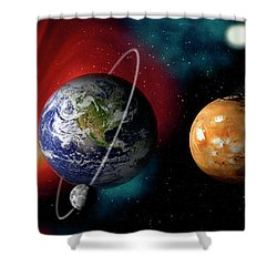Sun And Planets Shower Curtain by Panoramic Images