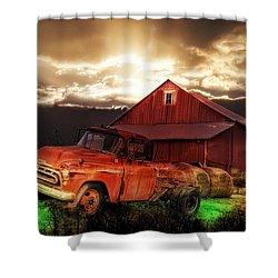 Sunburst At The Farm Shower Curtain by Bill Cannon