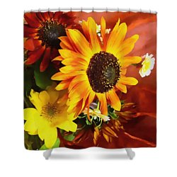 Sunflower Strong Shower Curtain by Kathy Bassett