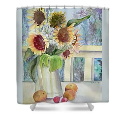 Sunflowers And Peaches Shower Curtain by Katherine  Berlin