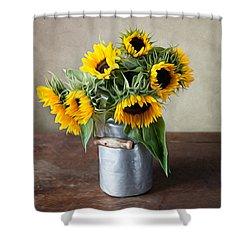 Sunflowers Shower Curtain by Nailia Schwarz