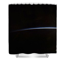 Sunrise As Viewed In Space Shower Curtain by Stocktrek Images