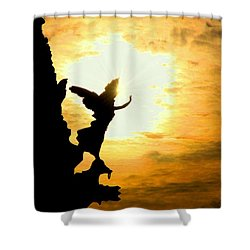 Sunset Angel Shower Curtain by Valentino Visentini