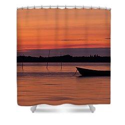 Sunset Boat Shower Curtain by Gert Lavsen