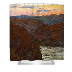 Sunset Shower Curtain by Claude Monet
