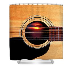 Sunset In Guitar Shower Curtain by Garry Gay