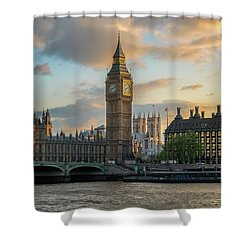 Sunset In London Westminster Shower Curtain by James Udall
