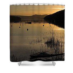 Sunset Over The Lake Shower Curtain by Carole Lloyd