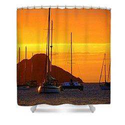 Sunset Sails Shower Curtain by Karen Wiles