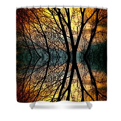 Sunset Tree Silhouette Abstract 3 Shower Curtain by James BO  Insogna