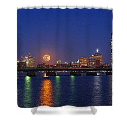 Super Moon Over Boston Shower Curtain by Juergen Roth