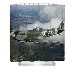 Supermarine Spitfire Mk.xvi Fighter Shower Curtain by Daniel Karlsson