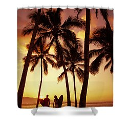 Surfer Couple Shower Curtain by Dana Edmunds - Printscapes