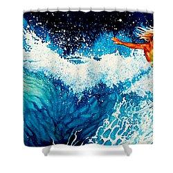 Surfer Girl Shower Curtain by Hanne Lore Koehler