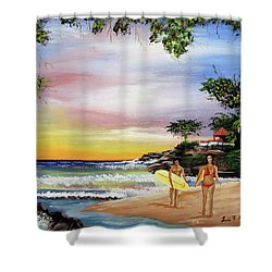 Surfing In Rincon Shower Curtain by Luis F Rodriguez