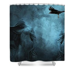 Surreal Gothic Cemetery Mourners And Raven Shower Curtain by Kathy Fornal