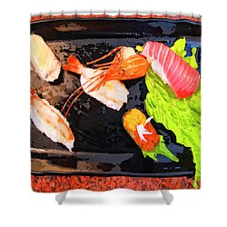 Sushi Plate 2 Shower Curtain by Dominic Piperata