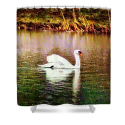 Swan Lake Shower Curtain by Bill Cannon