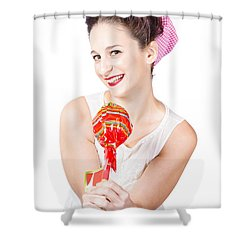 Sweet Lolly Shop Lady Offering Over Red Lollipop Shower Curtain by Jorgo Photography - Wall Art Gallery