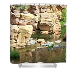 Swimming Hole At Slide Rock Shower Curtain by Carol Groenen