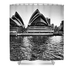 Sydney Opera House-black And White Shower Curtain by Douglas Barnard