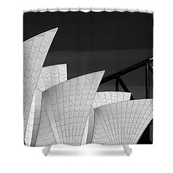 Sydney Opera House With Bridge Backdrop Shower Curtain by Avalon Fine Art Photography
