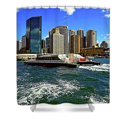 Sydney Skyline From Harbor By Kaye Menner Shower Curtain by Kaye Menner