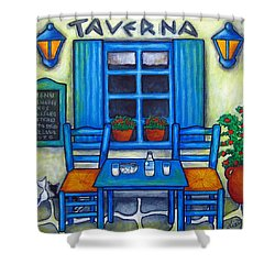 Table For Two In Greece Shower Curtain by Lisa  Lorenz