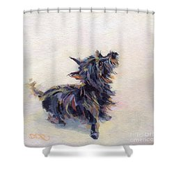 Tail Wagging Fury Shower Curtain by Kimberly Santini