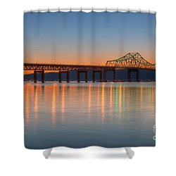 Tappan Zee Bridge After Sunset II Shower Curtain by Clarence Holmes
