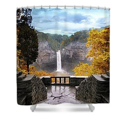 Taughannock In Autumn Shower Curtain by Jessica Jenney