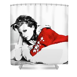 Taylor Swift Red 01a Shower Curtain by Brian Reaves