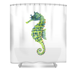 Teal Green Seahorse Shower Curtain by Amy Kirkpatrick