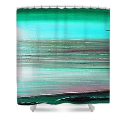 Teal Panoramic Sunset Shower Curtain by Gina De Gorna