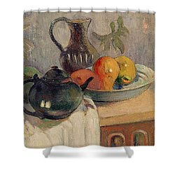 Teiera Brocca E Frutta Shower Curtain by Paul Gauguin