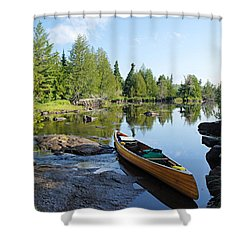 Temperance River Portage Shower Curtain by Larry Ricker