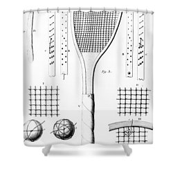 Tennis Racket And Balls Shower Curtain by French School