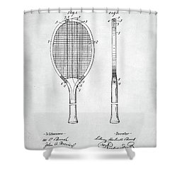 Tennis Racket Patent 1907 Shower Curtain by Taylan Apukovska