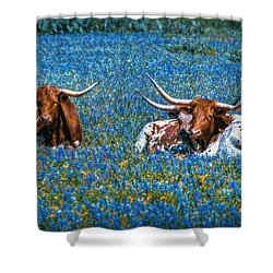 Texas In Blue Shower Curtain by Linda Unger