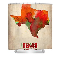 Texas Watercolor Map Shower Curtain by Naxart Studio