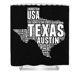 Texas Word Cloud Black And White Map Shower Curtain by Naxart Studio