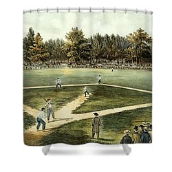 The American National Game Of Baseball Grand Match At Elysian Fields Shower Curtain by Currier and Ives