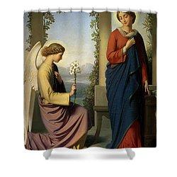 The Angelic Salutation Shower Curtain by Eugene Emmanuel Amaury-Duval