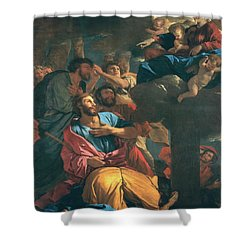 The Apparition Of The Virgin The St James The Great Shower Curtain by Nicolas Poussin
