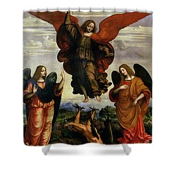 The Archangels Triumphing Over Lucifer Shower Curtain by Marco DOggiono