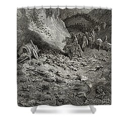 The Army Of The Second Crusade Find The Remains Of The Soldiers Of The First Crusade Shower Curtain by Gustave Dore