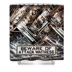 The Attack Waitress  Shower Curtain by Joan  Minchak
